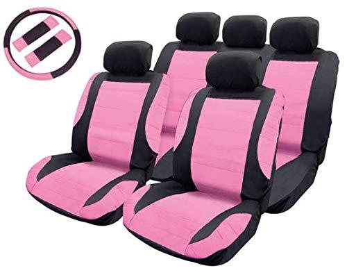 MSA Rosa Sitzbezug Lederoptik Schwarz Set Sicherheitsgurt Lenkradpolster Auto Racing Baby Pink