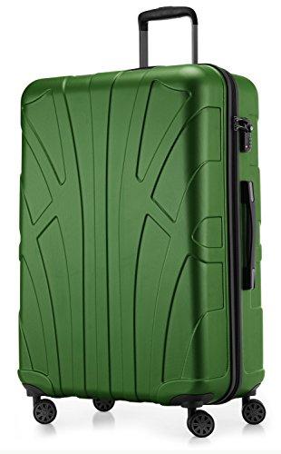 Suitline großer Hartschalen-Koffer Koffer Trolley Rollkoffer XL Reisekoffer, TSA, 76 cm, ca. 86 Liter, 100% ABS Matt, Grün