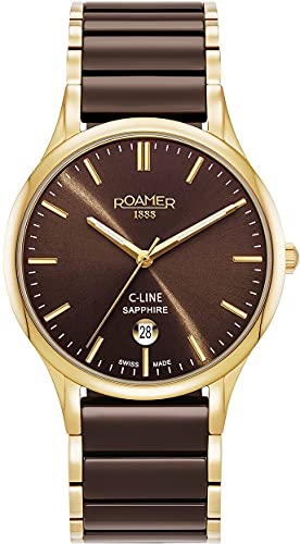 Roamer Reloj de pulsera para hombre C-Line de 40 mm, 3 manecillas, ventana de fecha, correa de acero inoxidable, cerámica 658833 48 65 63