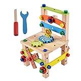 KongLyle DIY silla de trabajo, construir su silla Montessori juguetes Luban silla desmontaje juguete conjunto rompecabezas bloques para niños