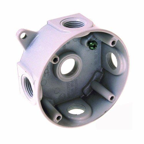 Hubbell 5361-1 Bell Raco Single Ended Splice Box, 16.1 Cu-In, 4 In Dia X 1-1/2 In D, White