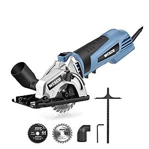 WESCO Sierra Circular 500W Mini Sierra Eléctrica Velocidad de 5100RPM Profundidad Máxima de Corte 27mm con 2 Hojas para Cortar Madera, Plástico, Metal WS3453 (MINI Sierra IT)