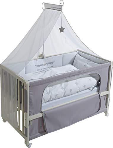 roba Lit d'allaitement, lit bébé 60x120cm laqué en blanc 'Rock Star Baby 2', fixation au lit parental possible, avec linge de lit