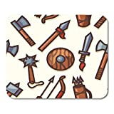 Juego Alfombrilla de ratón Patrón Armas medievales Tiro con arco antiguo Armadura Armas Flecha Hacha Cuchilla Decoración Oficina antideslizante Respaldo de goma Alfombrilla de ratón Alfombrilla de rat