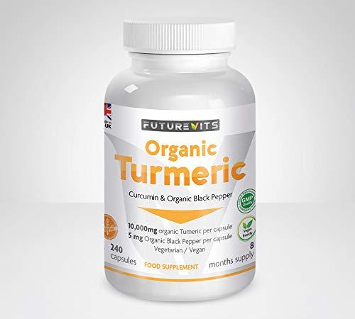 Kurkuma komijn en zwarte peper organische hoge sterkte 10000 mg capsules Gluten & Vegan vriendelijk gemaakt in het Verenigd Koninkrijk Futurevits 8 maanden levering
