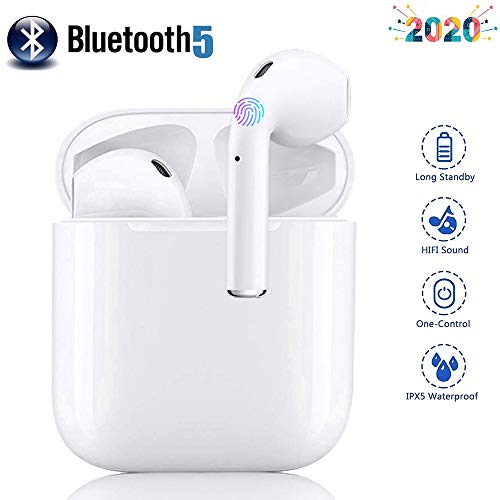 Cuffie Bluetooth 5.0 Auricolari Wireless Cuffie touch integrate 【Custodia di ricarica 24 ore】 Suono stereo Hi-Fi IPX5 resistente all'acqua per iOS/Android/iPhone/Samsung/Huawei/Airpods