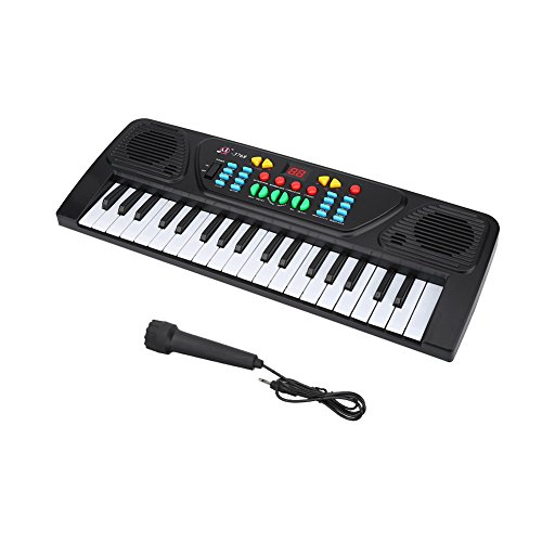 VGBEY 37 Teclas Teclado electrónico Multifuncional, Mini Piano con diseño Compacto Sonidos y ritmos múltiples Juguete Educativo Musical con Mini micrófono Ideal para niños