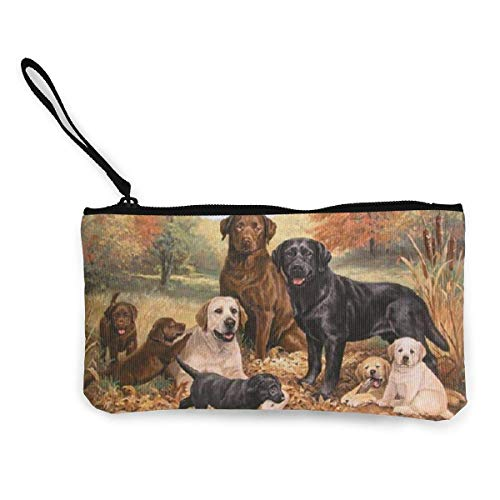 Yuanmeiju My Pet Dog Family Oil Painting Women and Girls Cute Fashion Canvas Porta monete Change Coin Bag Zipper Small Purse Wallets for Keychain Money Travel Pouches