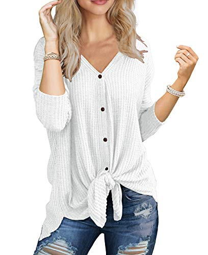 IWOLLENCE Womens Loose Henley Blouse Bat Wing Long Sleeve Button Down T Shirts Tie Front Knot Tops White Medium