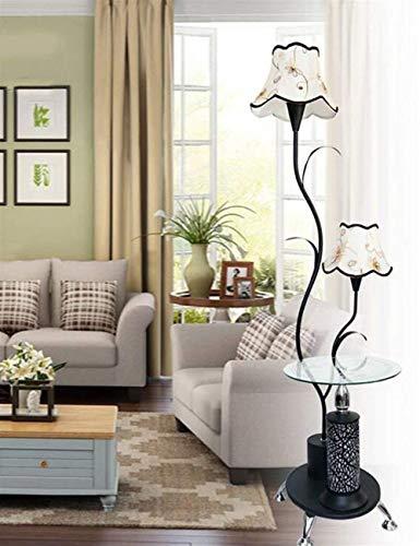YUQIYU Piso Luces paño de la cortina de hierro moderna simplicidad puede ajustarse mesa de café de pie luminarias for Sala de estar de moda ideas dormitorio de noche Bombilla incluida, Negro, interrup