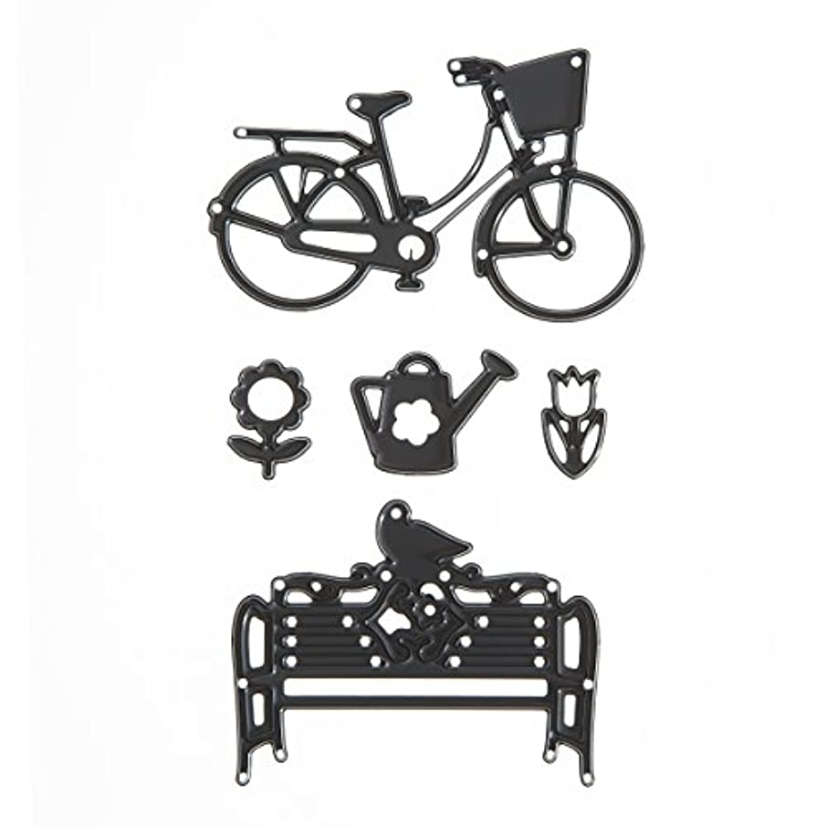 Darice Build-A-Design Craft Dies Die Cuts Outdoor Bicycle & Bench Scene, 5 Piece