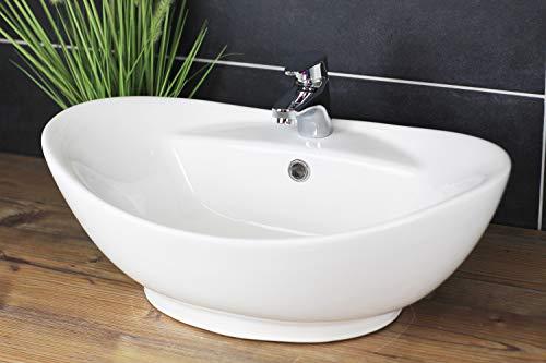 Aufsatzwaschbecken 60x40 Oval Waschbecken Weiß Waschschale