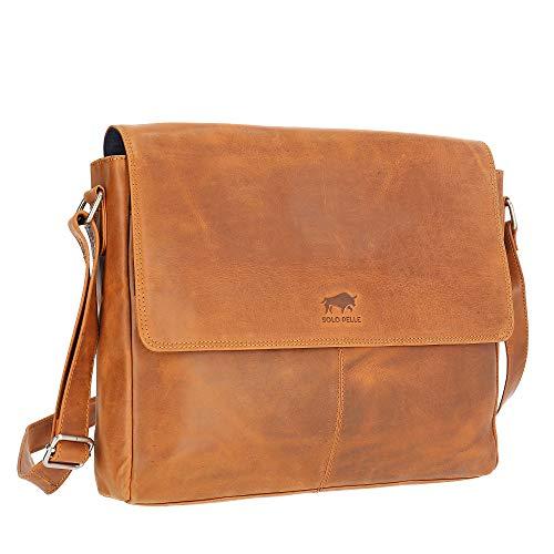 Solo Pelle Business Messenger Tasche/Umhängetasche College Tasche aus echtem Leder Model: Henry 15 Zoll (Cognac Braun)