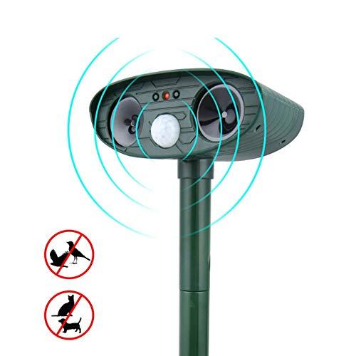 0 ℃ Outdoor Ultraschall-Abwehr,solarbetrieben, wasserfest mit Bewegungsmelder LED-Blinklicht, für Hunde, Katzen, Eichhörnchen, Hirsch, Waschbär und mehr