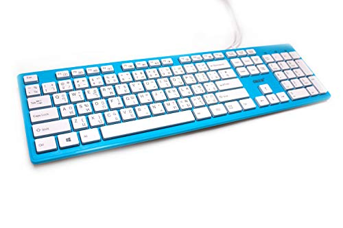Multimedia Tastatur Thai Schrift QUERTY türkis OKER KB-518 mit Silikonschutzhülle USB