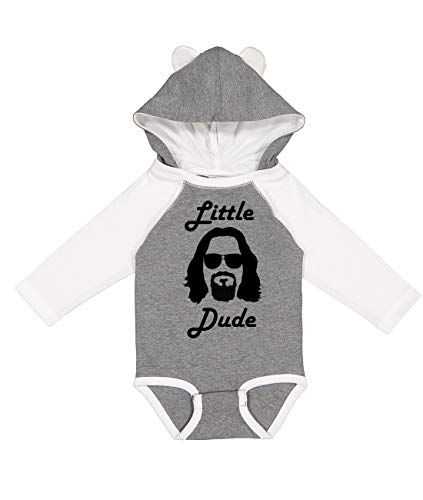 NorthStarTees Big Lebowski Little Dude Long Sleeve Baby Onesie with Ears (Granite Heather, Newborn)
