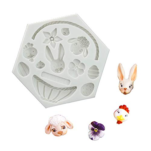 No Easter Bunny Egg Flower Basket Chocolate Mould Flip Sugar Cake Silicone Mold Baking Appliances