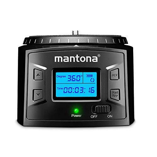 Mantona Turnaround 360 Advanced 3 – elektrischer Panorama Stativkopf 360° endlos Rotation programmierbarer Schwenkkopf für Timelapse Zeitraffer und Schwenks mit Kamera Smartphone Action Cam GoPro