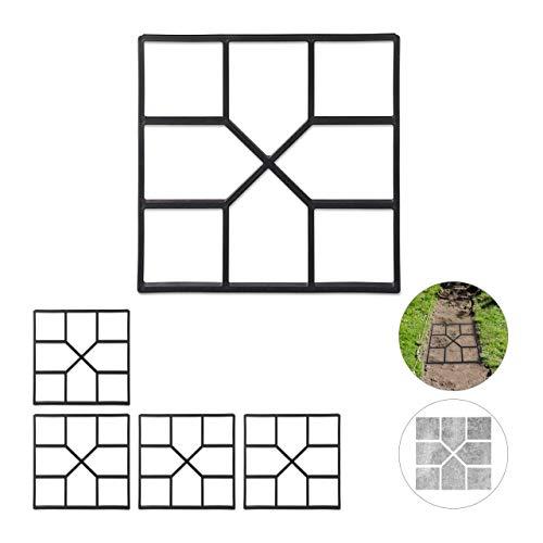 Relaxdays 5 x Betonform im Set, Schalungsform zum selber gießen, Gussform für Gehwegplatten, 40x40cm, robuster Kunststoff, schwarz