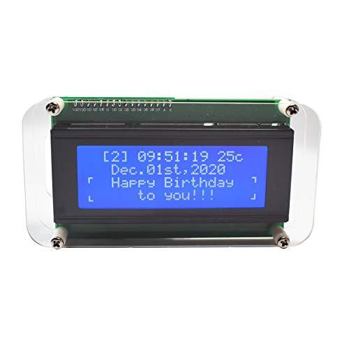 Uhrenmodul-Kit LCD-Musikspektrum-Anzeigetakt 4-stellige Digitaluhr mit großer Schrift Multifunktionsuhr DIY-Kit mit Uhrzeit/Datum/Woche/Temperatur/Feiertagserinnerung/Countdown /