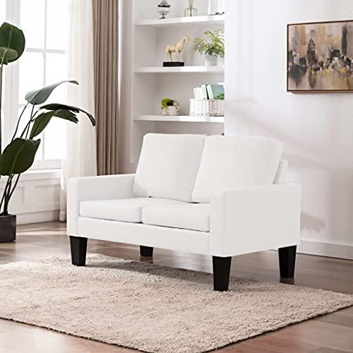 YOPOTIKA Sofa Couch Kunstleder Wohnmöbel Polstergarnitur 2-Sitzer-Sofa Weiß Kunstleder