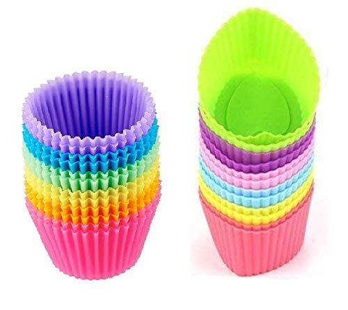 HelpCuisine® moulessilicone Muffins/Moule à Muffins, Lot de 36 moules en Silicone Alimentaire sans BPA Réutilisables Ecologiques Antiadhésifs, 24 Mois de Garantie!