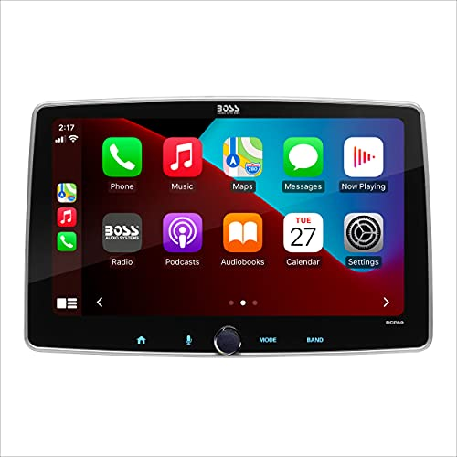 BOSS Audio Systems BCPA9 - Single Din Chassis with Detachable 9 Inch Capacitive Touchscreen, Apple CarPlay, Android Auto, Bluetooth, No DVD, RGB Illumination, High Resolution FLAC Audio