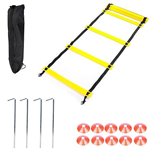 DBREAKS Speed Agility Training Kit, Fußballtrainning Set (4 Pcs) mit Koordinationsleitern(8m), 10 Kegel, 4 Metallnägel und 1 Tragetasche, Agility Ladder Set für Training, Fussball, Fitness