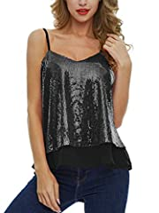 Quality Material: the glitter top is made of 100% polyester chiffon fabric and high quality glitter sequins,the camisole is lightweight and flexible, comfortable to wear throughout the day Features: This V neck sequined vest is featured with V-neck, ...