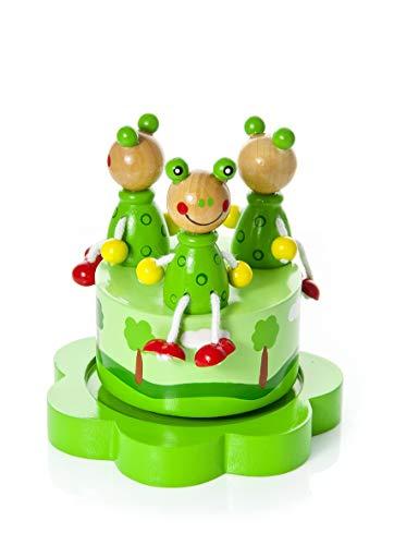 Boîte à Musique en Bois Grenouille Verte Cadeau de baptême pour bébé garçon ou Fille