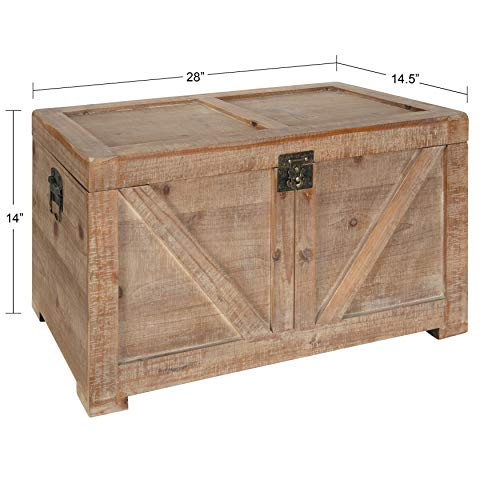 Kate and Laurel Cates Classic Farmhouse Small Wooden Storage Chest Trunk, Rustic Brown, Modern...