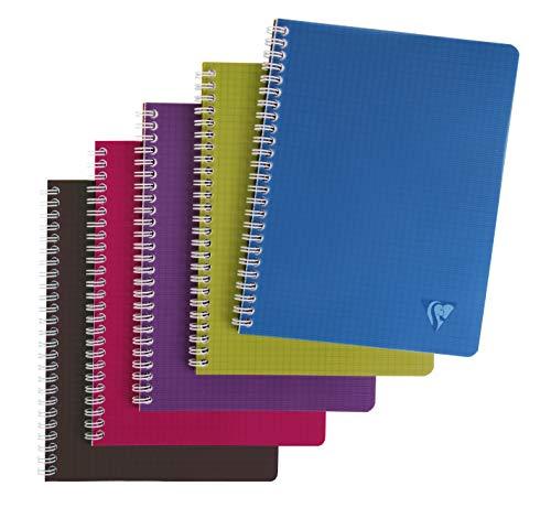 Clairefontaine 329725C - Un cahier à spirale Linicolor 100 pages 17x22cm 90g petits carreaux, couverture polypro (plastique) couleur aléatoire Intensive