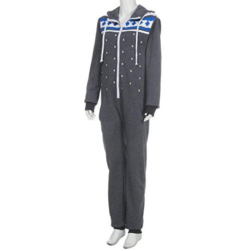 Elecenty Damen 3D Drucken Jumpsuit Schlafanzug Frauen Langarm Weihnachten Elch Winter warm lang mit Kapuze Overall (Dunkelgrau) - 5