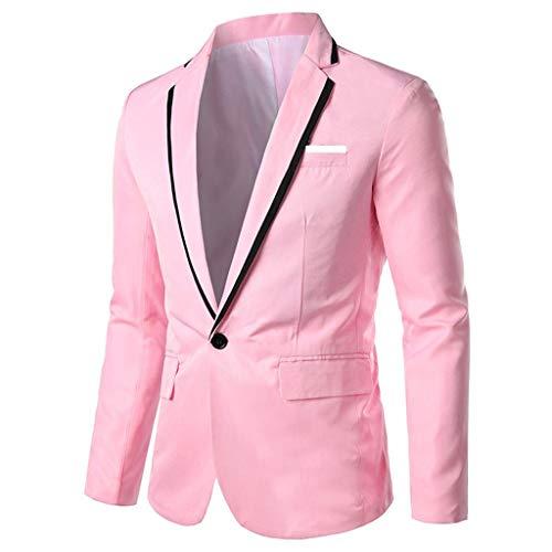 Traje Hombre Slim Fit Fiesta/Boda Barato,Chaqueta De Traje Hombre Vestir Estampado Blazer Casual Disfraz,Blazer Sólido Casual Elegante Negocios Outwear Abrigo Traje Tops Hombre(Rosa,XL)