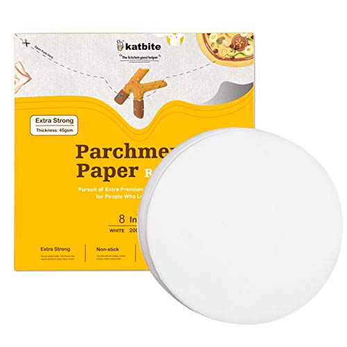 """Katbite Heavy Duty Parchment Rounds 8 Inch 200 Pcs, 5""""6""""7""""9""""10""""12"""" Parchment Paper Rounds Available, Uses for Cake Baking, Air Fryer Liners"""