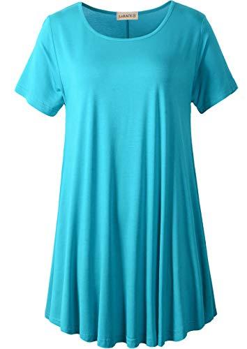 Product Image of the LARACE Women Short Sleeves Flare Tunic Tops for Leggings Flowy Shirt (S, Lake...