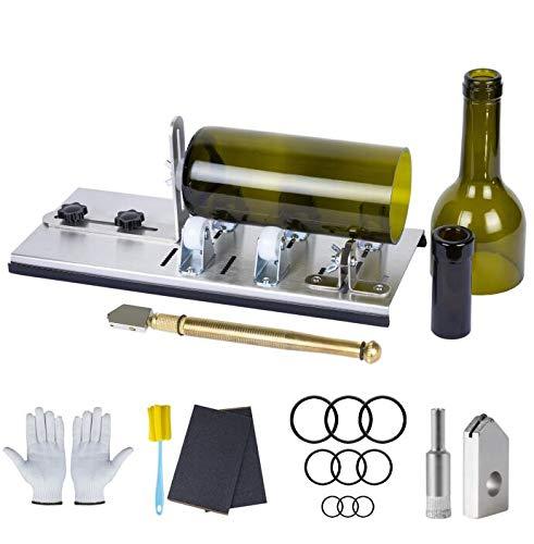 Kalawen Kit de cortador de botellas de vidrio ajustable, herramienta de bricolaje, juego de máquina de cortar de acero inoxidable para vino, cerveza, licor, whisky, alcohol, champán