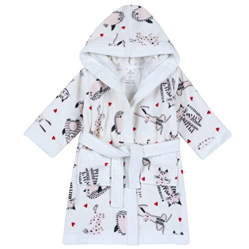Chicco Albornoz para niña de suave esponja, color blanco, diseño de gatitos – 9 – 10 años