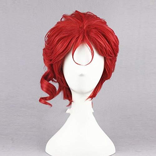 Kakyoin Noriaki de Jojo 14 'rojo rizado corto de alta temperatura fibra sinttica pelo Cosplay peluca + gorro de peluca como la foto