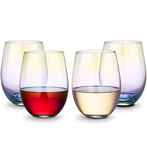 drinking glass for wine beers CEEFU Rainbow Wine Glasses Stemless Goblet Beverage Cups - 18oz, Set of 4, Ideal for Cocktails & Scotch, Perfect for Homes & Bars