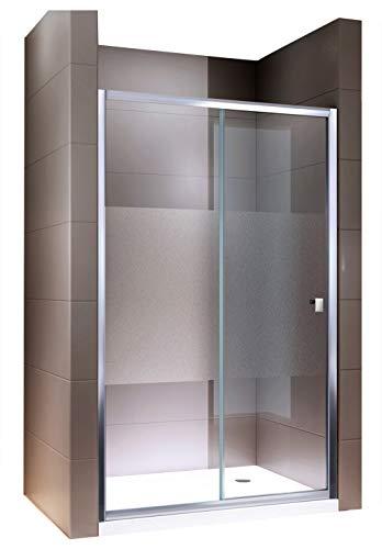 Duschabtrennung Schiebetür NANO Echtglas EX505 - Milchglas-Streifen - Breite wählbar, Breite:1000mm