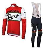 Checkless Traje de Ciclismo Hombre Invierno de Equipos Profesionales. Culotte y Maillot. Ropa Ciclismo con Badana 12D Gel Pad, Maillot Ciclismo Hombre Invierno (L, LA CASERA)