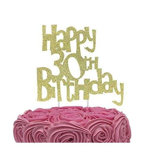LissieLou Happy 30th Birthday Cake Topper Glitter Gold
