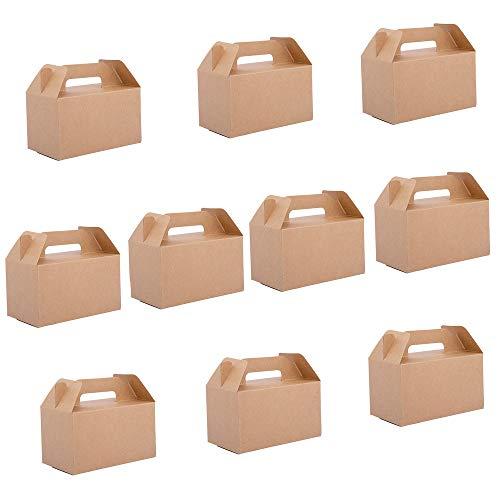 10 Piezas Kraft Papel Cajas Regalo,Caja de Papel Kraft, Cajas Cartón Kraft,Fuerte y Robusto,Adecuadas Para Pasteles,Galletas,Pizza,Pollo Frito,Cajas de Embalaje Para Llevar