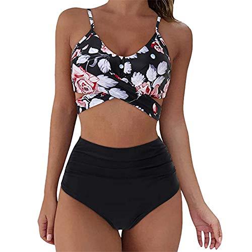 Goosuny Damen High Waist Bikini Push Up Zweiteiliger Badeanzug Bademode Bauchweg Hose Blumenmuster Gepolsterter Bikini Set Mit Hoher Taille Badeanzug Strandkleidung Strandwear