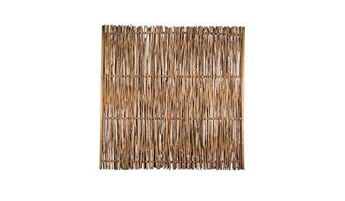MEIN GARTEN VERSAND Haselnuss-Zaun als Flechtzaun mit seiltlichen Holz-Rahmen im Maß 180 x 180 cm (Breite x Höhe) aus der Serie der Haselnuss-Zäune mit braun gebeizten Holz-Rahmen aus Kiefer/Fichte