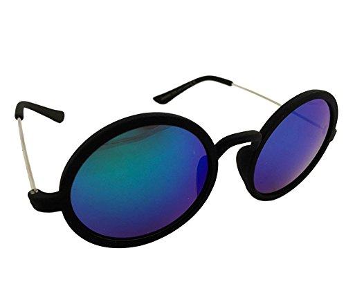 Dasoon vision Gafas de Sol Redondas Negras y Cristales Verdes