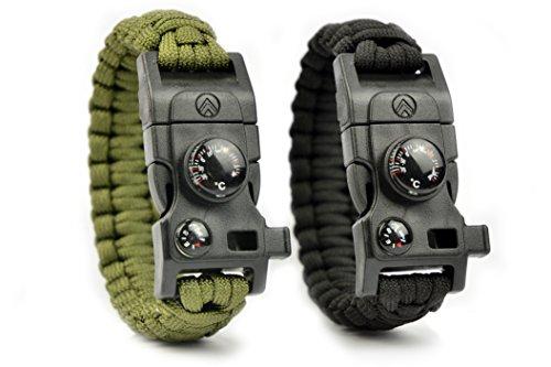 Avendu 7-in-1 Paracord Survival Armband mit Multitool + Feuerstahl + Kompass + Signalpfeife + Minimesser + Thermometer (Oliv)