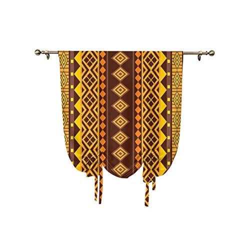 Primitive Roman - Cortina opaca con aislamiento térmico, diseño geométrico africano con forma triangular y diagonal, 31 x 55 pulgadas, para dormitorio de niños, color marrón y amarillo