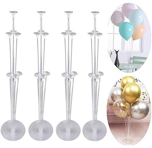 YIKEF 4 Juego de 28 'Altura Kit de Soporte de Globos para Mesa para Decoraciones de Fiestas de cumpleaños y Bodas, Globos de Feliz cumpleaños Decoraciones para Fiestas y Navidad